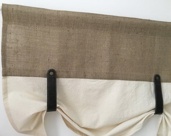 Burlap Curtains Kitchen Valance Faux Leather Tie Up Country Curtain Rustic Farmhouse Window Treatments Primitive Natural Jute Decor Brown