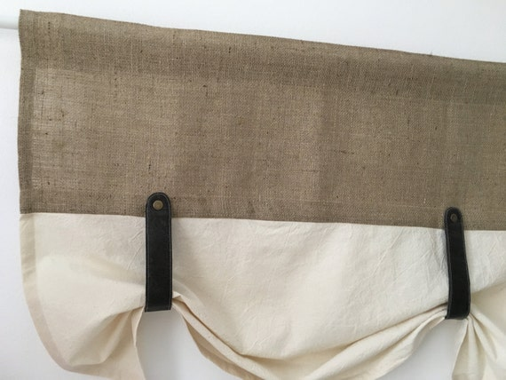Burlap Curtains Kitchen Valance Faux Leather Tie Up Country