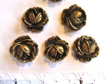 Flowers-Florets-Vintage Metal Findings-Jewelry, Crafts Supply- raw brass-1 lot/6pcs