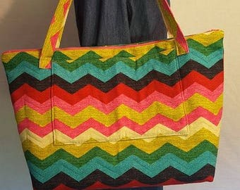 Rainbow Chevron Tote Bag