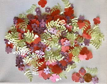 """Personalized Confetti """"Spring Flowers"""" 250pc+ Pearl Cardstock Paper"""