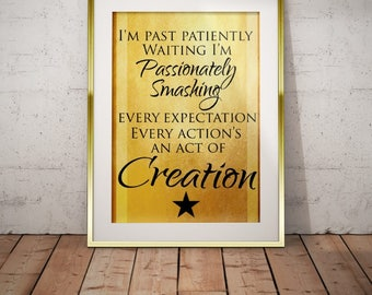 Hamilton Musical Quote Action Act of Creation Typography Poster 5x7 8x10 11x14 12x16
