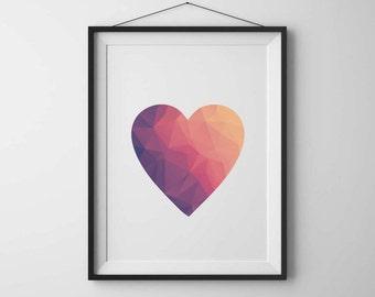 Geometic art Heart print Modern minimalist Modern art Geometric heart Printable art Modern heart Geometric wall art Printable heart poster