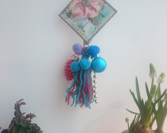 Georgia O'keeffe inspired glass decoration, glass hanging, Christmas decor, vintage lace, ribbon, tassels, light catcher, perfect gift