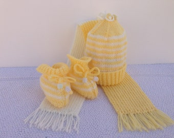 Hand Knitted Baby Hat, Scarf And Booties