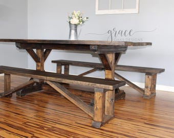 Farmhouse X-Base Trestle Table