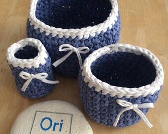 Storage tub, blue storage tub - set of 3, t-shirt yarn crochet baskets, storage tub, tshirt yarn tub, tshir