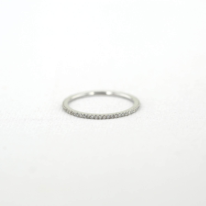 Micro Pave Diamond Eternity Band in 14k White Gold/ 1.0MM Diamond Eternity Band/ Diamond Wedding Ring/ Women's Diamond Wedding Band