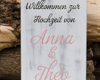 Welcome wood sign wedding 30 x 60 cm