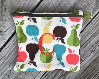 Reusable sandwich bag, Apples, Pears, Healthy snacks, Fitness Gifts, Zippered Sandwich Bag, Snack Bag, Monogrammed, Lunch, washable bag