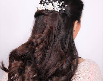 white silver Pearl wedding bridal hair accessory #102