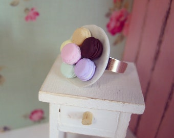 Cute Macarons Ring, Adjustable Ring with Ceramic Plate and Pastel Mini macaroons, Miniature Food