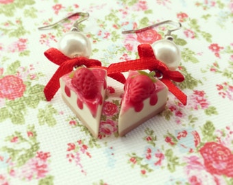 Strawberry Cheesecake Earrings, Super Cute Earrings with a Slice of Cheesecake and Bow, Miniature Food