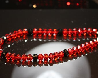 Royal Red Crystal Glass Beads Necklace