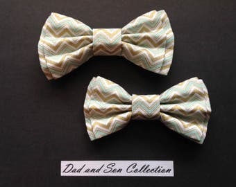 Bow Tie,Dad and Son Bow Ties, Green Gold Bow Ties,Father Son Bow Ties,Mens Bow Tie,Groomsmen Bow Tie,Ring Bearer Bow Tie,Boys Bow Tie  DS675