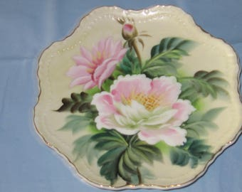 Hand Painted and Numbered Lefton Beaded Flower Plate