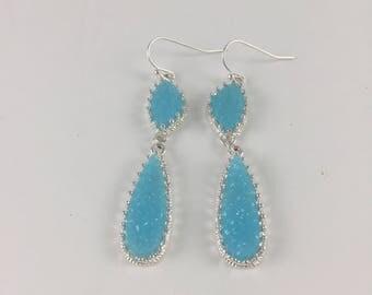 Italian Silver Turquoise Druzy Pendant Earrings