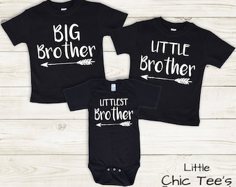 3 black matching brother shirts, set of 3 brother outfits, 3 brother shirt set, matching brother set of three, 3 brother shirts