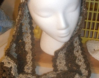 Brown Crocheted Infinity Scarf