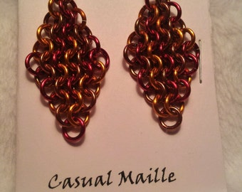 Red/Ornage/Bronze (Random Pattern) Chain Maille (European 4-1) Earrings
