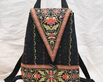 backpack, ornate Black with brick red accents, purse