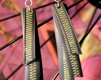 Recycled Bike Tube Sterling Silver Hand Crafted Earrings