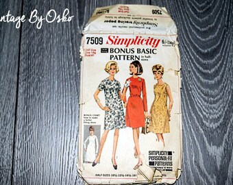 Vintage 1960s Simplicity 7509 Basic Dress collarless, Mod HS Plus Size A Line Dress Sleeveless Short or Long Sleeve Simplicity Pattern 7509