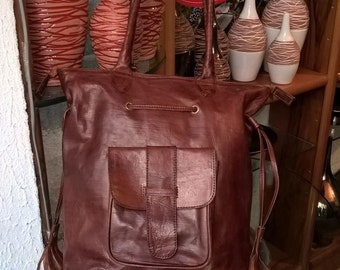 Handmade Leather Bag with handle and fringe