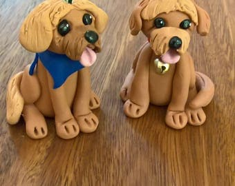 Pet portrait clay figurines, polymer clay