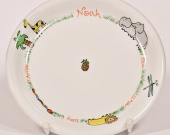 Children's dish with dates of birth 20 cm