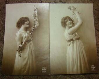 SALE 2 Vintage Pretty Lady French Postcards