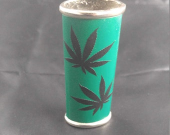 BIC Lighter Cover METAL w/ Vinyl Wrapped Metal green w/ black leaf