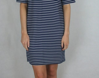 Navy and White Stripped Tee Dress