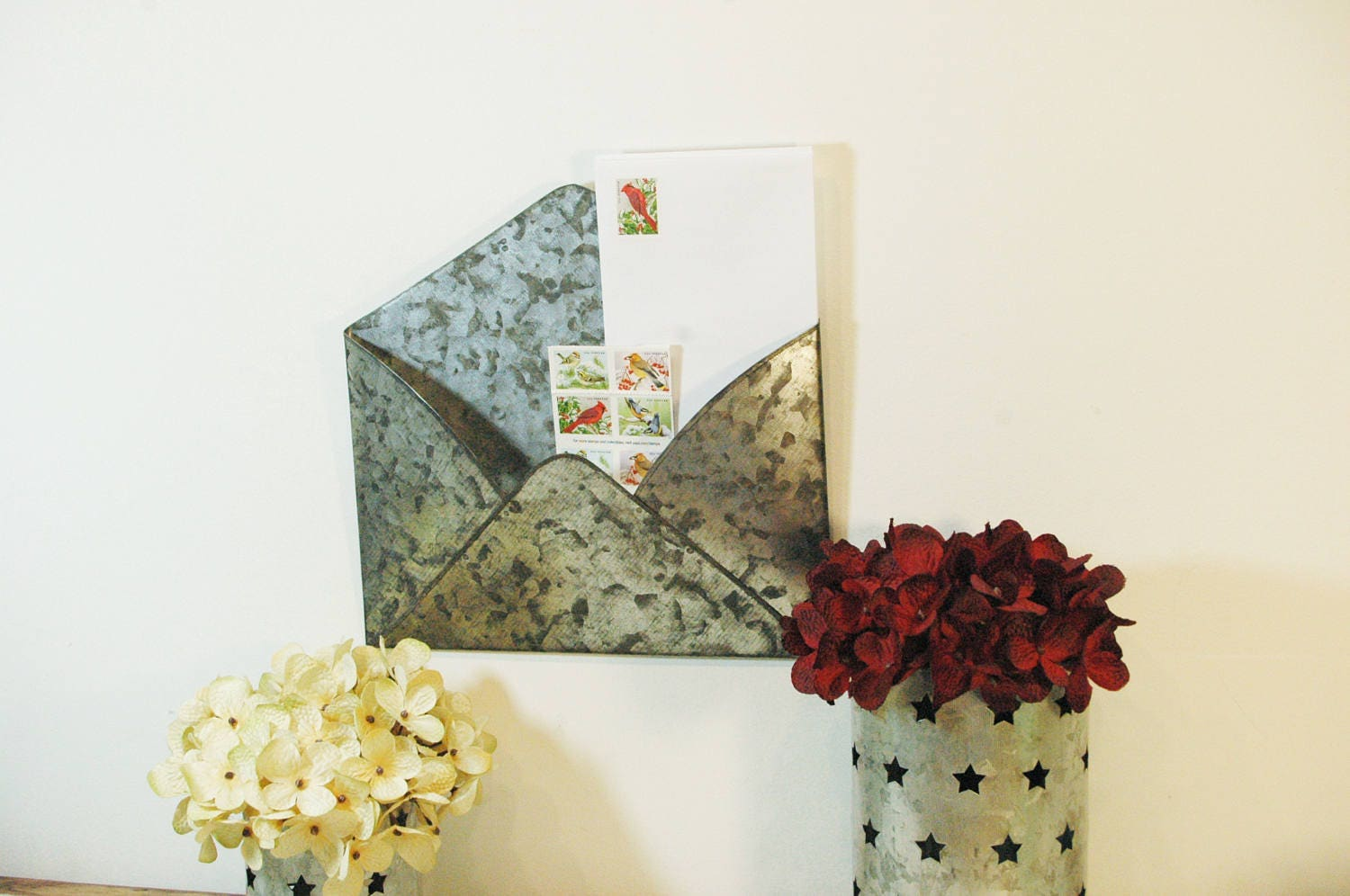 Metal Envelope Wall Decor : Metal envelope galvanized mail organizer