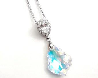 Crystal AB baroque Swarovski pendant Rhodium necklace, Wedding crystal necklace Crystal jewelry, Drop Bridal baroque drop necklace BJ026