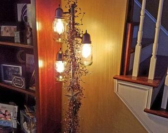 Primitive Mason Jar Floor Lamp with Edison Bulbs