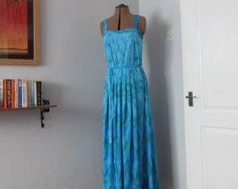 Vintage FINK MODELL Long Summer Dress. Blue/Turquoise. Lightweight. Size 40/12