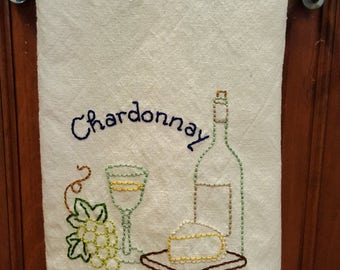 Retro Kitchen Towel- Hand Embroidered Chardonnay Pattern