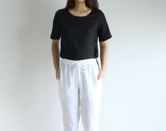 linen pants, pants, women pants, women trousers, white pants, women clothing, resort wear, summer pant, long pant, linen clothing E31P