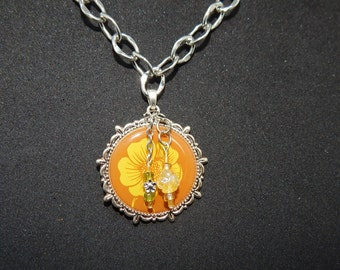 Necklace with Flower Pendant and charms