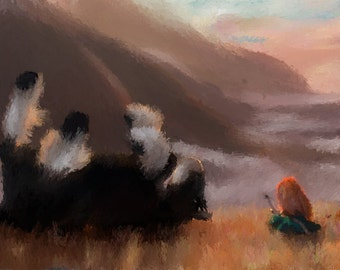 Brave; Merida and Angus Painting.