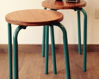 Pair of stools.Handmade. Vintage. Iron and Wood.Industrial stools.