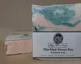 Marbled Sweet Pea Handmade Soap,  Natural Skincare, Homemade Soap, UK, Bar Soap, Cold Process Soap, Exfoliating