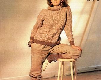 ORIGINAL 80s Aran Jumper & Legwarmer Knitting Pattern, Patons 7679, Womens jumper patterns, 80s Leg warmer patterns, Vintage, retro fashion