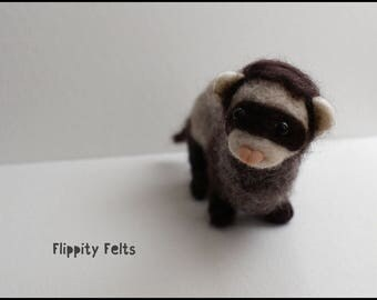 Needle felted realistic polecat ferret sculpture