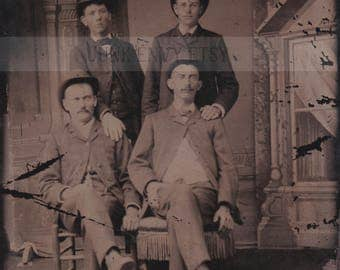 Antique Tintype Photograph . Civil War Era Portrait of Four Men . Digital Download . High Resolution Scan