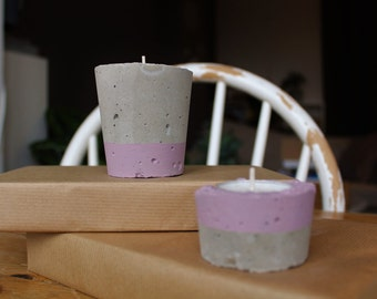 Concrete | set of 2 candleholders