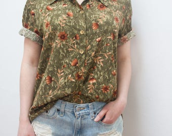 Olive Green Orange Floral Print Button Up Short Sleeve Collar Blouse Top Vintage 80s 90s