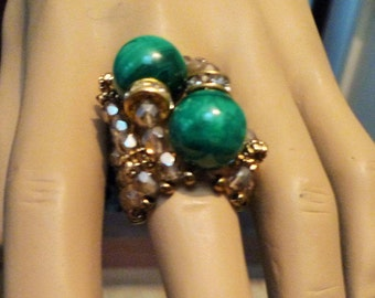 Ring Stone Jewelry Haute Couture Hand Made one kind of, Malachite