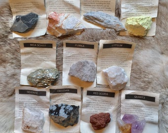 Vintage Rocks and Minerals Collection / Geology Earth Science Collection Kit / Geology Samples